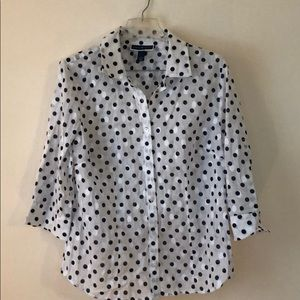 Karen Scott polka dot button up blouse size L euc